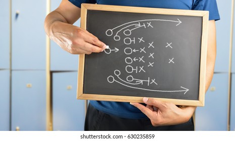 hand of a american football coach drawing a tactics of  football game  with white chalk on blackboard at changing room