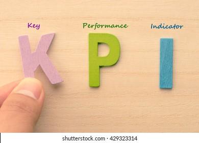 Hand arrange letters as KPI (Key , Performance , Indicator)