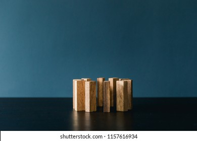Hand arranging wood block stacking  concept for business growth success process, Copy space