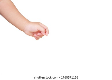 hand of asian infant baby boy in take pick up gesture on white background