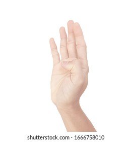 hand of asian man in gestures isolated on white background
