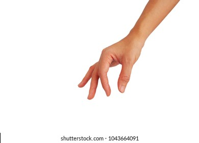 hand of Asian woman is reach down for catch something isolated on white background