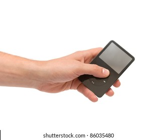 Hand with audio player isolated