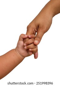 hand baby holds a finger mom. over white background