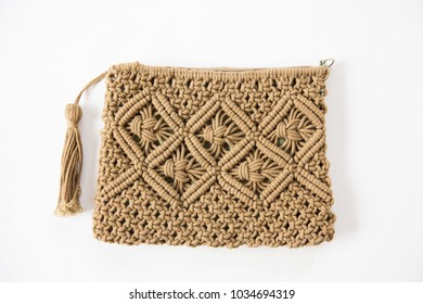 Hand bag macrame on white background.