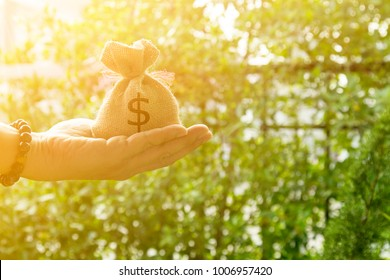 Hand, bags and sunlight in garden or people give money bags showing lent money the borrow to spend or for investment to buy property or for the future.