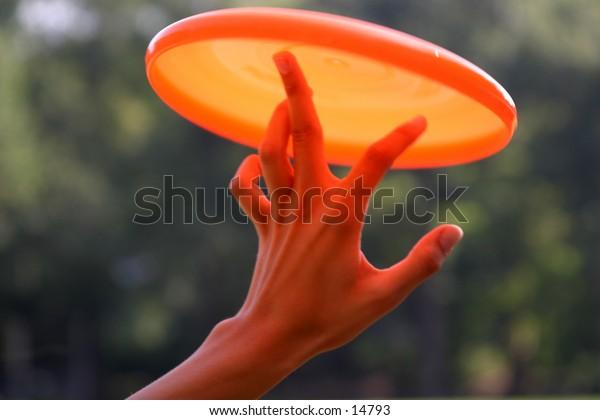 hand balancing frisbee
