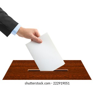 Hand with ballot and box isolated on white background