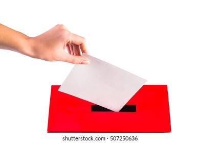 Hand with ballot and box on a white background