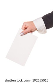 hand with ballot isolated white background