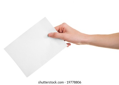 Hand with ballot on white background.