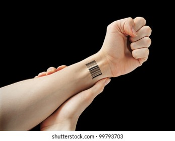 Hand with bar code symbolizing surveillance and control.