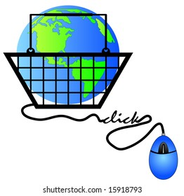 hand basket connected to internet shopping - international shopping