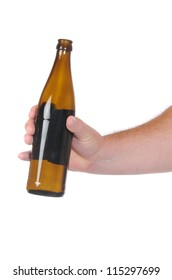 Hand with beer bottle in front of a white background