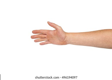 hand before handshake isolated on white background, Empty man hand offering a handshake, male hand and arm reaching for something, Business handshake or Businessman giving his hand to partner