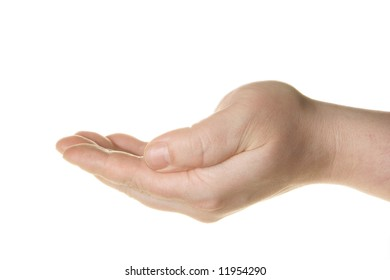 Hand to beg isolated over white background