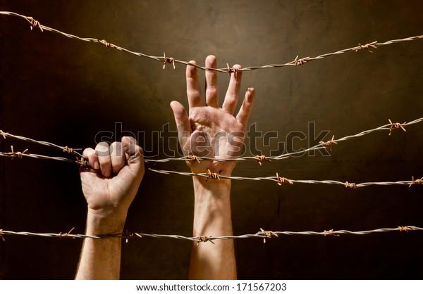 mano detrás de alambre de púas
