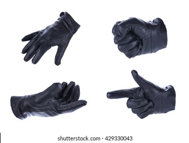 A hand in black leather glove making a shooting gesturing, isolated on white background
