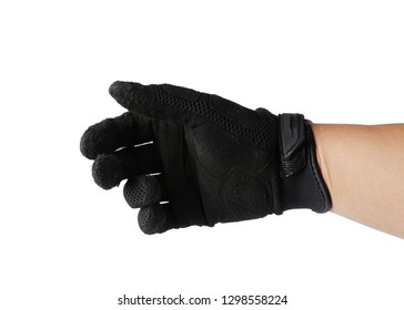 Hand in Black Motorcycle gloves isolated on a white background, Hand symbol,Clipping path.