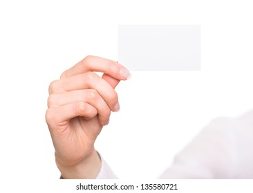 Hand with blank visiting card