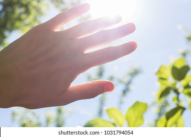 Hand blocking the sun. Female hand and rays of the sun. Bright summer weather