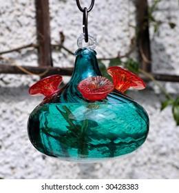 Hand Blown Glass Hummingbird Feeder