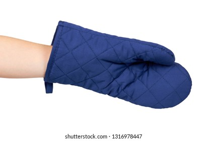 Hand with blue kitchen glove, heat protection and safety. Isolated on white background