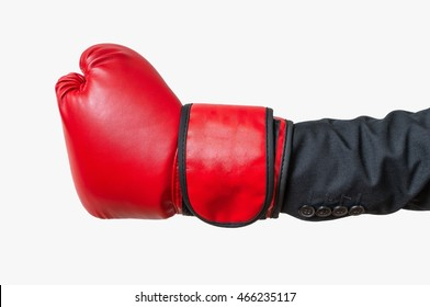 Hand of boxer in suit. Isolated on white background.
