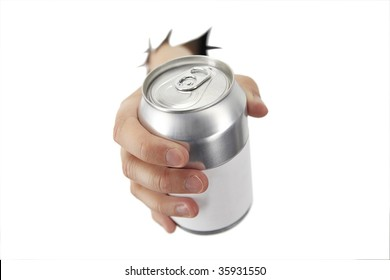 hand is bracking paper with a can