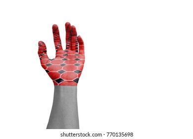 hand with brick art paint design concept on white background.