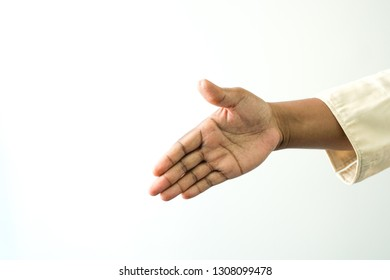 Hand brown skin making the hand shaking sign on white background