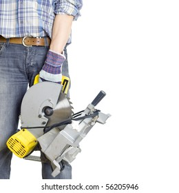 In a hand of the builder a ?ircular saws. The isolated white background