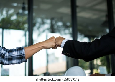 Hand bump Join Hands Partnership Third party, Business clasping hand Concept.