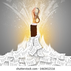 Hand buried in document pile and breaking out from it