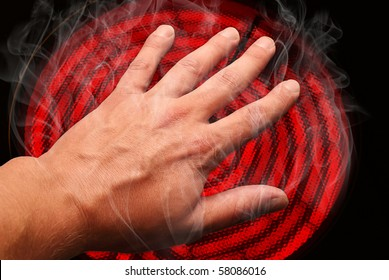 Image result for image of hand on fire touching a stove