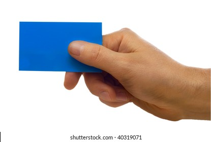 Hand with a business card isolated on white background