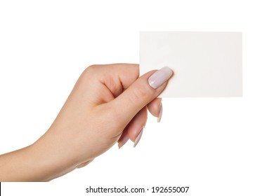 hand with business card, isolated white background