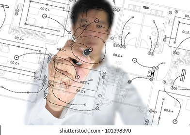 Hand of Business Man Draw architect or home with electrical plan