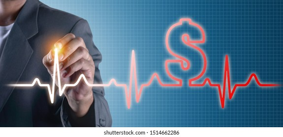 Hand of business man drawing glow heart rate wave of dollar sign