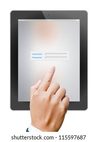 hand of business man holding and touching on touch pad login