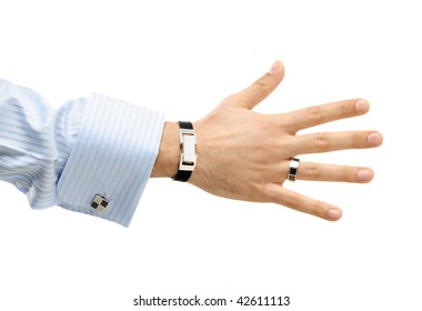 a hand of a business man offering a handshake