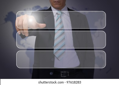Hand of Business Man Pressing or Pushing transparent button on touch screen interface
