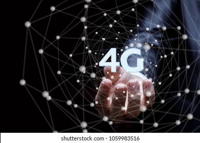 Hand business man showing 4g Connection concept .