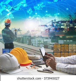 hand of business man working on  table in container dock use for logistic industry and import export , freight cargo shipping industrial
