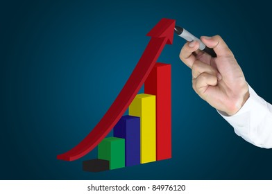 Hand of business man write a3d business graph