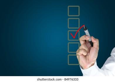 Hand of business man write a choice