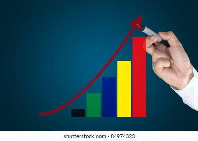 Hand of business man write business graph