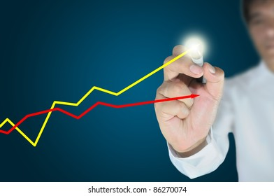 Hand of business man write a business graph