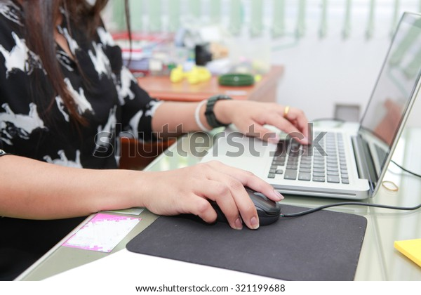 hand of Business people Having computer In Modern Office