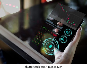 Hand of business woman use smart phone, futuristic ai technology, Internet of things, social media and big data concept,  everthing with one finger click on hologarphic interface